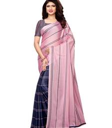 Pink Printed Shimmer Sarees With Blouse