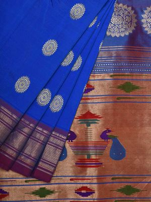 Blue Paithani Silk Handloom Saree with All Over Buta Design