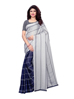 Grey Printed Shimmer Sarees With Blouse