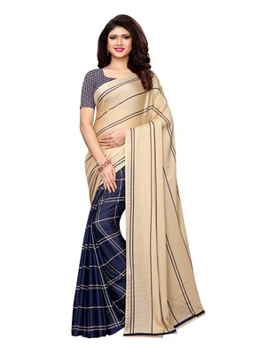 Beige Printed Shimmer Sarees With Blouse