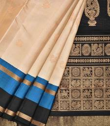 Cream Kanchipuram Silk Handloom Saree with Buta Design
