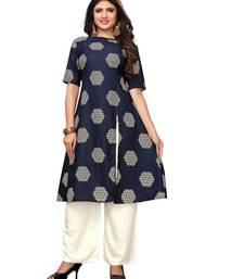 Navy-blue printed georgette ethnic-kurtis