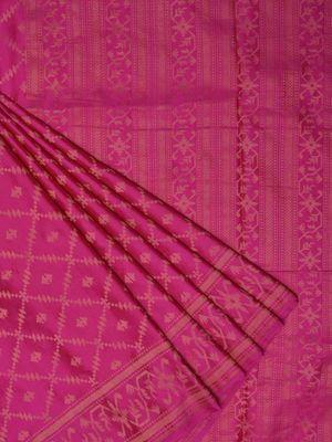 Pink banaras silk handloom saree with all over jamdani design