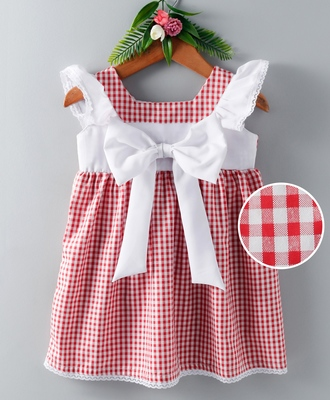 Red printed blended cotton kids frock