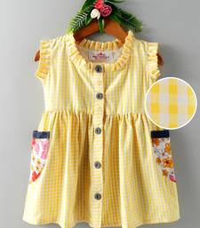 Yellow printed blended cotton kids frock