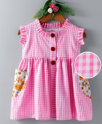 Pink printed blended cotton kids frock