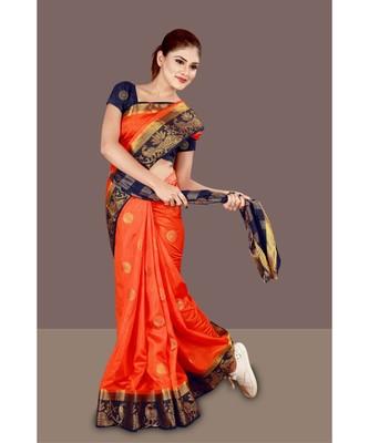 orange woven art silk banarasi saree with blouse piece