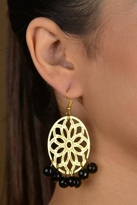 Gold Filigree Black Beaded Earrings
