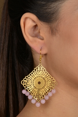 Gold Filigree Beaded Earrings