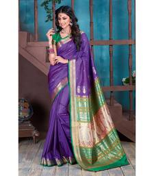 Ultra Violet woven silk blend saree with blouse