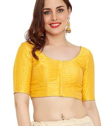 Yellow Dupion Silk Readymade Padded Saree Blouse