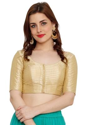 Gold Dupion Silk Readymade Padded Saree Blouse