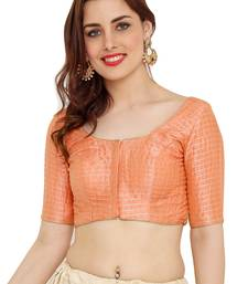 Peach Dupion Silk Readymade Padded Saree Blouse