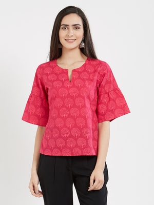 Pink printed cotton tops