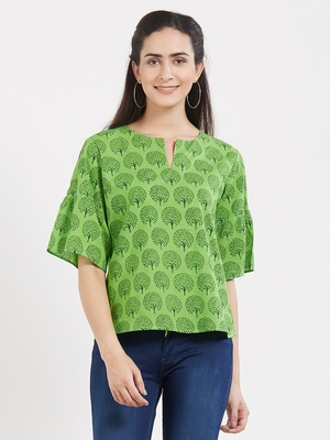 Green printed cotton tops