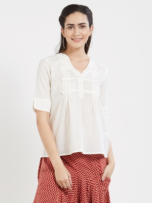 Off white plain cotton tops