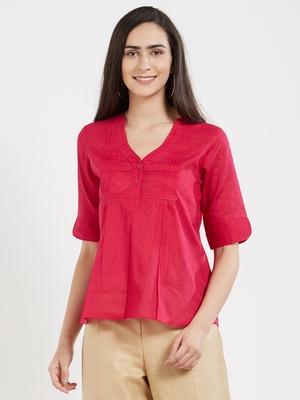 Pink plain cotton tops