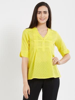 Yellow plain cotton tops