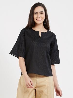 Black plain cotton tops