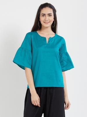 Teal plain cotton tops