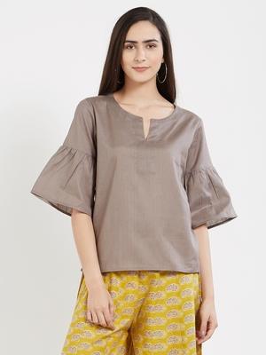 Grey plain cotton tops