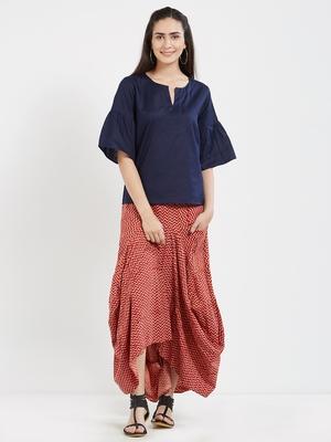 Blue plain cotton tops