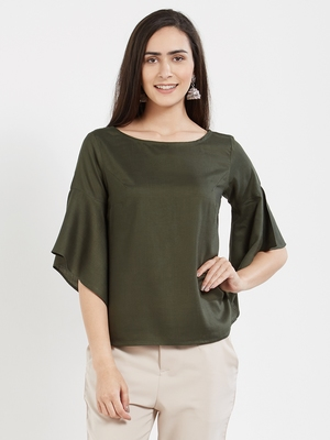 Olive plain cotton tops
