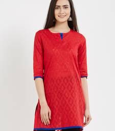 Red plain cotton kurta