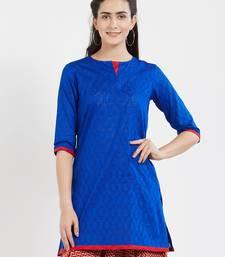 Blue plain cotton kurta