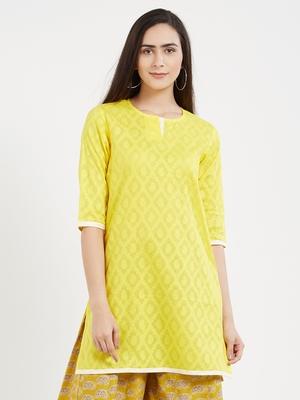 Yellow plain cotton kurta