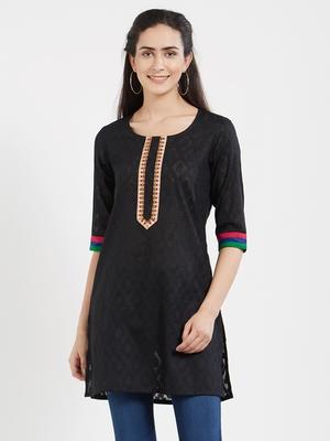 Black plain cotton kurta