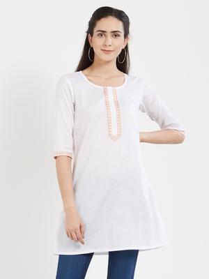 White plain cotton kurta