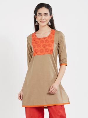 Beige plain cotton kurta