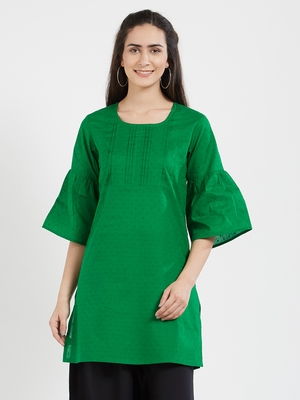 Green plain cotton kurta