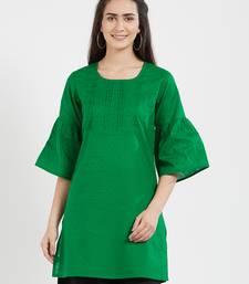 Green plain cotton kurta
