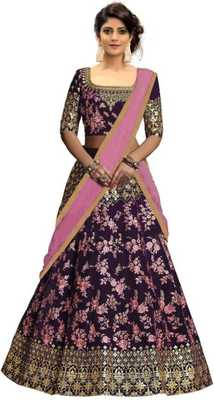 Purple plain satin semi stitched lehenga