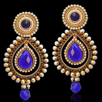 Ethnic Indian Bollywood Jewelry Gold Finish Pearl Polki Dangler Earrings