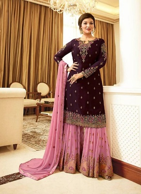 Wine embroidered georgette salwar with dupatta