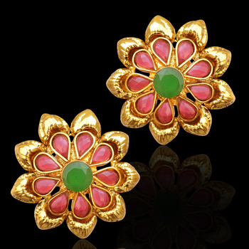 Traditional South Indian Bollywood Jewelry Gold Finish Pearl Polki Stud Earrings