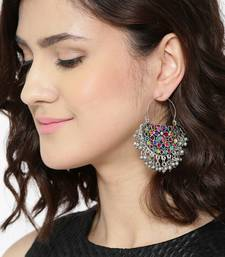 Multicoloured Stone-Studded Crescent-Shaped Chandbalis Alloy Chandbali Earring