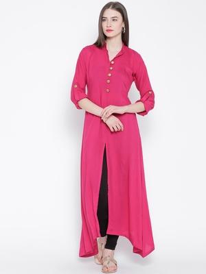pink plain rayon kurti