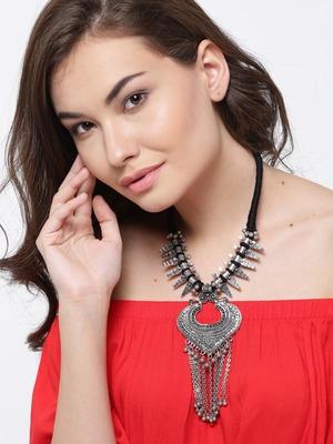 Infuzze Oxidised  Toned Alloy Necklace