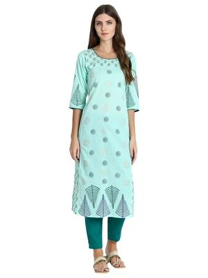 Sea-green printed cotton kurti