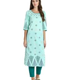 Sea-green printed cotton kurti