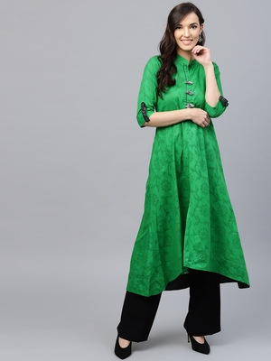 Green plain cotton kurti