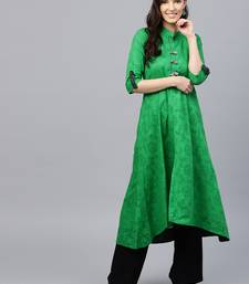 Green plain cotton kurti