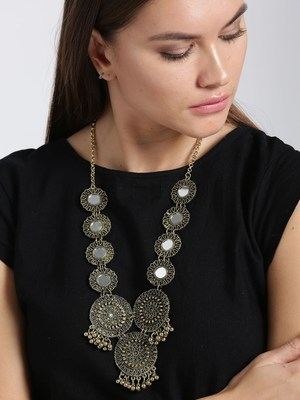Infuzze Oxidised Gold Toned Necklace Alloy Necklace