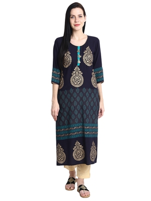 Navy-blue printed viscose rayon kurti