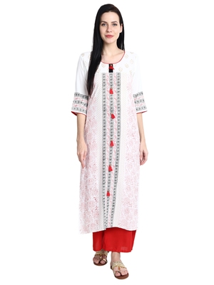 Cream printed viscose rayon kurti