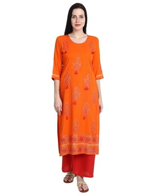 Orange printed viscose rayon kurti